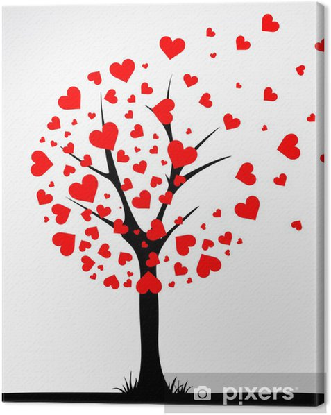 Obraz na płótnie Abstrakcyjne drzewa wykonane z serca. Wektor - Cuda natury