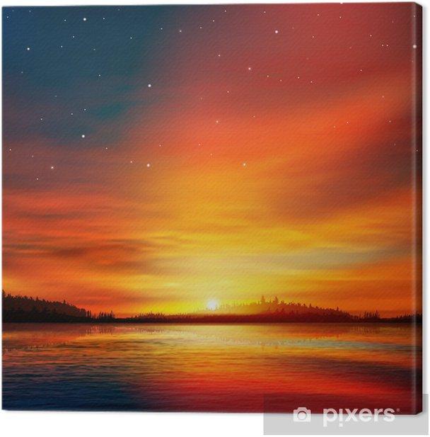 Obraz na płótnie Abstrakcyjne tło natura z jeziora lasu i słońca - Cuda natury