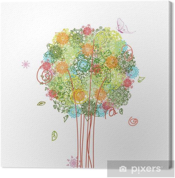 Obraz na płótnie Abstrakcyjny wzór drzewo arabeskami - Sztuka i twórczość