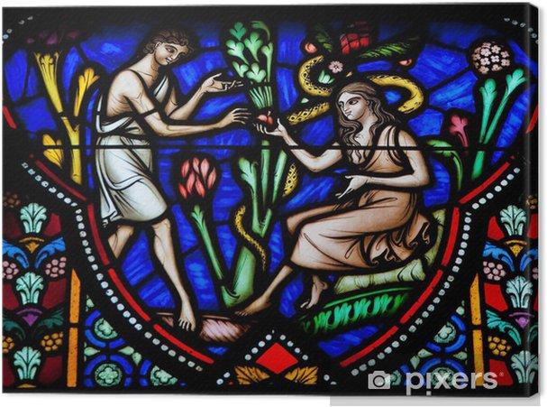 Obraz na płótnie Adam i Ewa w ogrodzie Eden - witraże - Religie