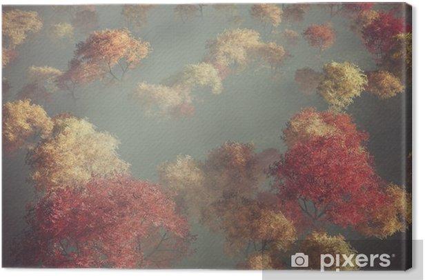 Obraz na płótnie Aerial lesie jesienią we mgle. - Krajobrazy