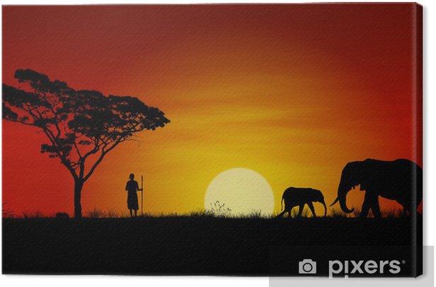 Obraz na płótnie Afrykański zachód słońca - Słonie