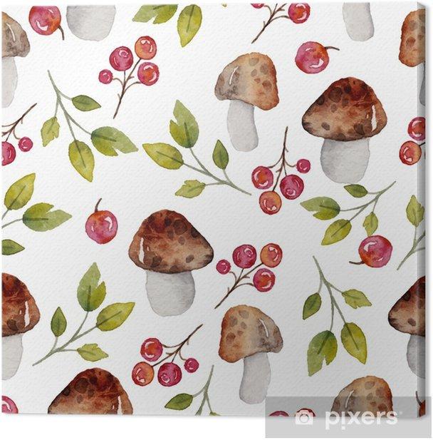 Obraz na płótnie Akwarela bezszwowe wzór z elementami lasu - Rośliny i kwiaty