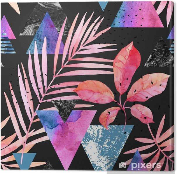 Obraz na płótnie Akwarela egzotyczne liście, grunge tekstury, gryzmoły wzór w rave kolory - Rośliny i kwiaty