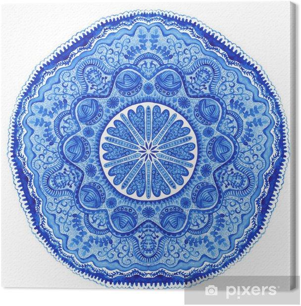 Obraz na płótnie Akwarela gzhel. Serwetka okrągły wzór koronki, wi koło tle - Naklejki na ścianę