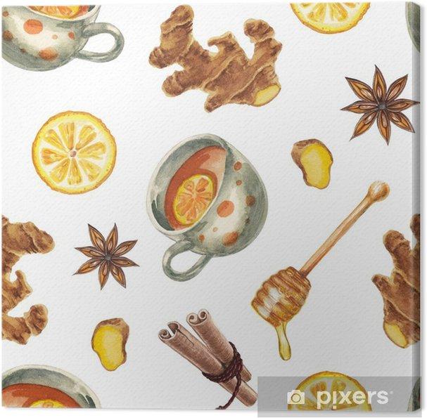 Obraz na płótnie Akwarela herbaty wzór - Napoje