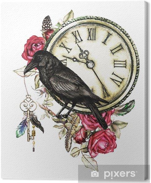 Obraz Na Płótnie Akwarela Ilustracja Z Kruk Czerwone Róże Zegar Klucze I Piór Gothic Tło Z Kwiatami Fajny Nadruk Na Koszulce Tatuaż Zabytkowe