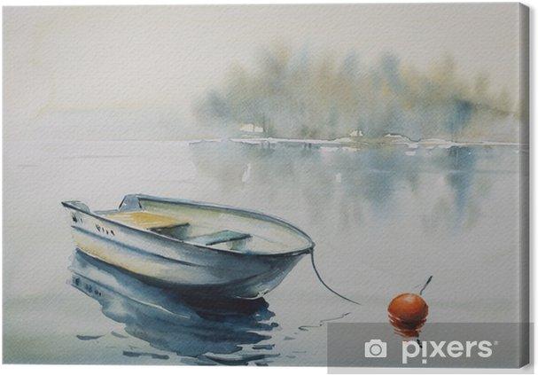 Obraz na płótnie Akwarela krajobraz z drewnianej łodzi na rzece, pokryta mgłą. - Krajobrazy