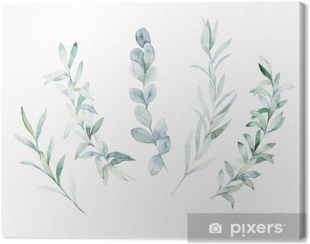 Obraz na płótnie Akwarela kwiatowy zestaw. ręcznie rysowane na białym tle ilustracja. tło botaniczne - Rośliny i kwiaty