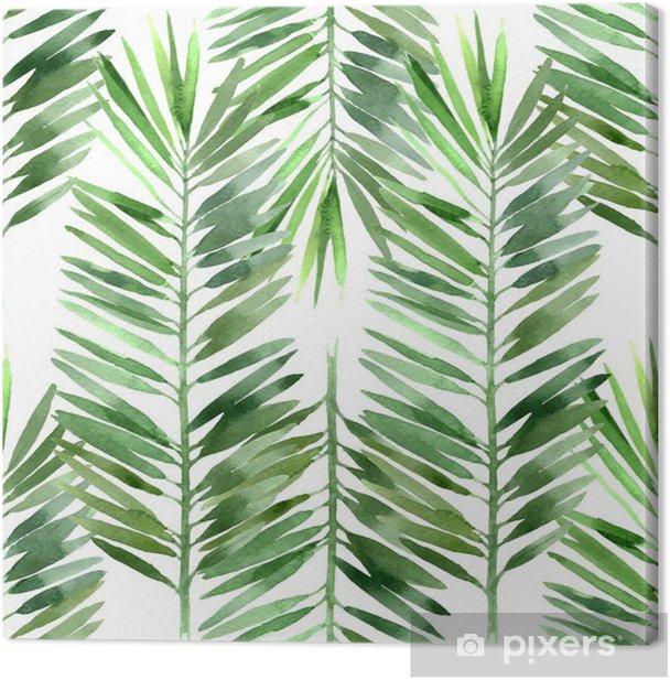 Obraz na płótnie Akwarela palma liści bez szwu - Rośliny i kwiaty