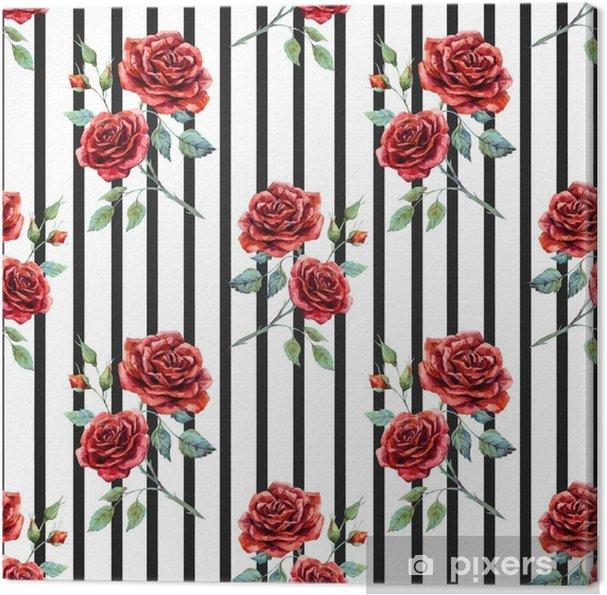 Obraz na płótnie Akwarela różany wzór - Rośliny i kwiaty