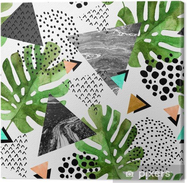 Obraz na płótnie Akwarela tropikalny liści i teksturowanej tło trójkąty - Zasoby graficzne