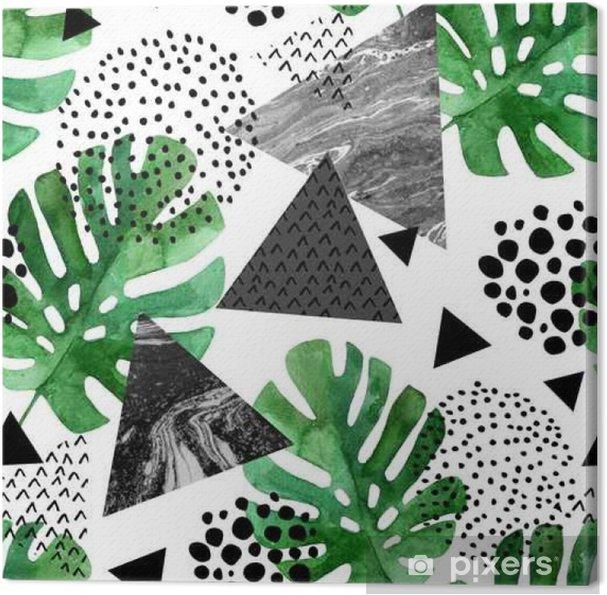 Obraz na płótnie Akwarela tropikalnych liści i teksturowane tło trójkąty - Zasoby graficzne