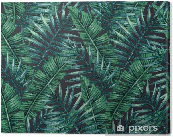 Obraz na płótnie Akwarela tropikalnych liści palmowych szwu wzorca. ilustracji wektorowych. - Zasoby graficzne