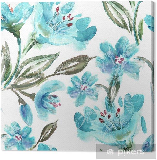 Obraz na płótnie Akwarela Turquoise Flowers Seamless Pattern - Rośliny i kwiaty