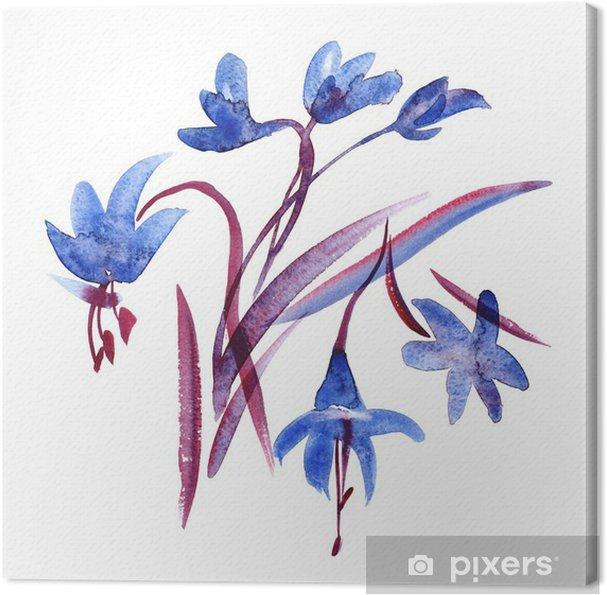 Obraz na płótnie Akwarela wiosna Niebieskie kwiaty na białym tle - Rośliny i kwiaty