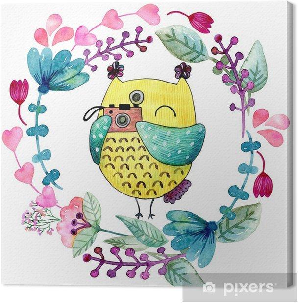 Obraz na płótnie Akwarela zabawny ilustracja z sowy i kwiaty. - Zwierzęta