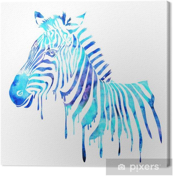 Obraz na płótnie Akwarela zebra głowy - streszczenie ilustracji zwierząt, biały - Naklejki na ścianę