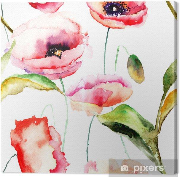 Obraz na płótnie Akwarele ilustracji kwiatów maku - Tematy