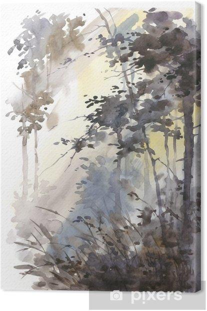 Obraz na płótnie Akwarele ręcznie malowane abstrakcyjny krajobraz, głęboki las, trójkami w słońcu. - Krajobrazy