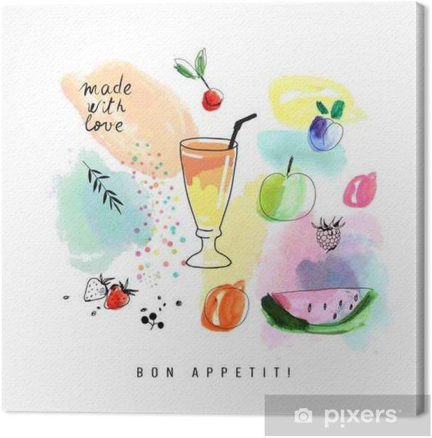 Obraz na płótnie Akwarele sztuki. Koktajl z jagód i owoców. - Jedzenie