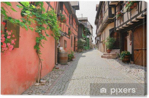 Obraz na płótnie Aleja w średniowiecznym mieście Riquewihr, Francja - Europa