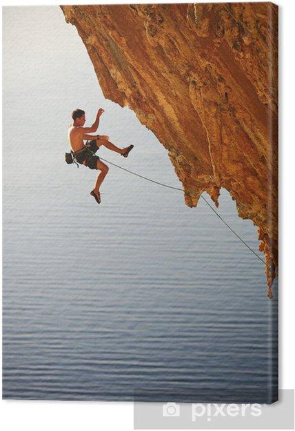 Obraz na płótnie Alpinistą spada z urwiska podczas wspinaczki ołowiu - Sporty ekstremalne