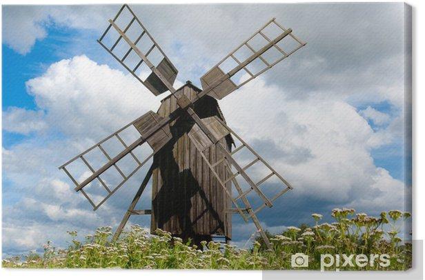 Obraz na płótnie Alte Bockwindmühle auf Öland, Schweden, w Blühender Schafgarbe - Europa