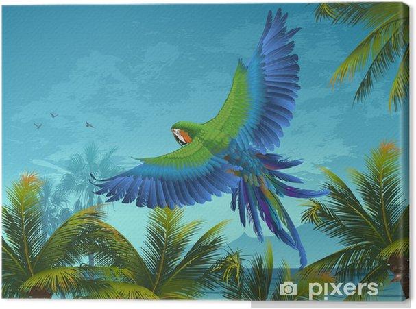 Obraz na płótnie Amazon. Tropikalna tła z papugami i palmami. - Tematy
