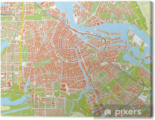 Obraz na płótnie Amsterdam mapa miasta - Miasta europejskie