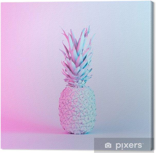 Obraz na płótnie Ananas w żywych kolorach holograficznych neonowych gradientów. koncepcja sztuki. minimalne tło surrealizmu. - Zasoby graficzne
