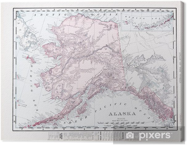 Obraz na płótnie Antique Vintage Map Color of Alaska, AK, Stany Zjednoczone, USA - Style