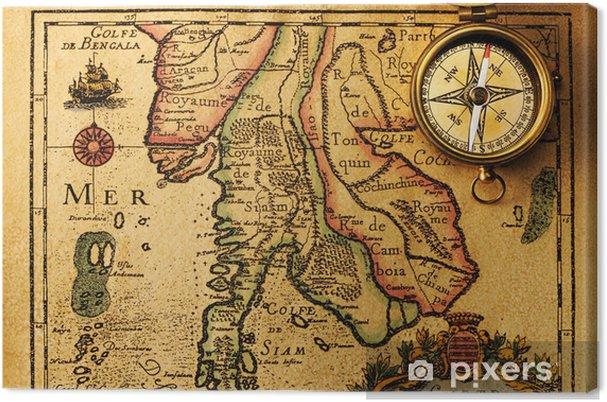 Obraz na płótnie Antyczny kompas nad starym mapie - Tematy