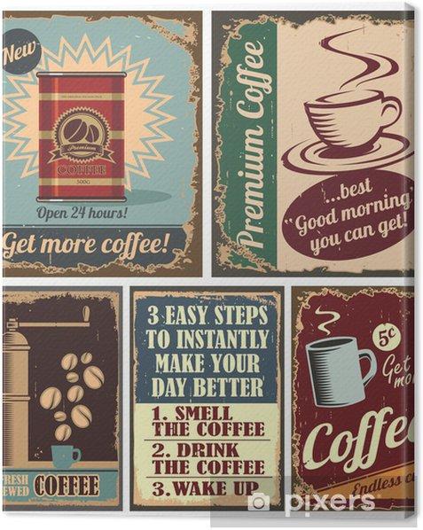 Obraz na płótnie Archiwalne plakaty kawy i znaki metalowe - Do kuchni