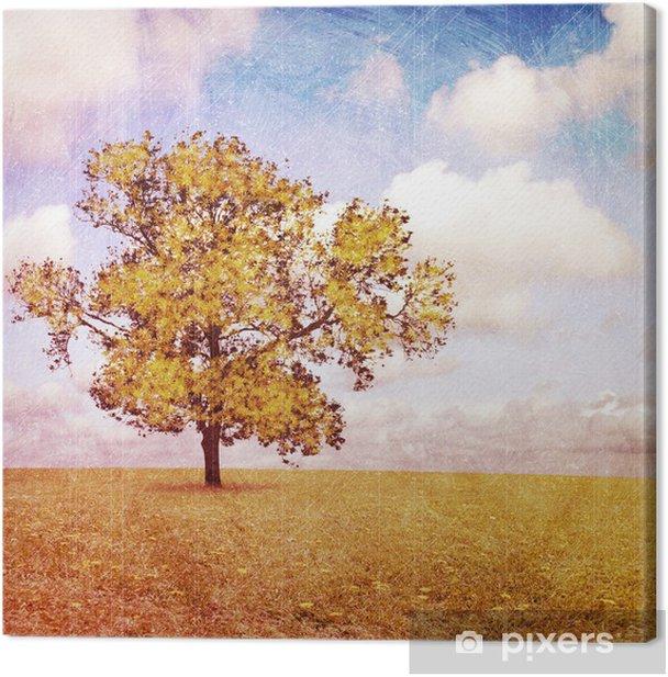 Obraz na płótnie Artistic Krajobraz Grunge Messy z drzewem - Krajobraz wiejski