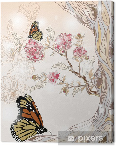 Obraz na płótnie Artystyczne dekoracje wiosną z piwonii oddziału i motyli - Pory roku