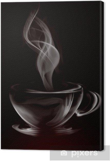 Obraz na płótnie Artystycznych ilustracji dymu filiżanka kawy na czarno -