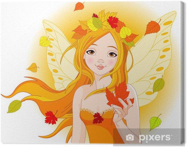 Obraz na płótnie Autumn fairy z liściem - Pory roku