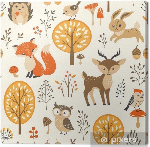 Obraz na płótnie Autumn forest szwu z uroczych zwierzątek - Do pokoju dziecięcego