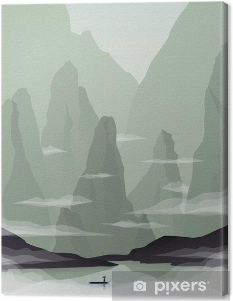 Obraz na płótnie Azji Południowo-Wschodniej ilustracja krajobraz wektor z skały, klify i morze. Chiny i Wietnam promocja turystyki. - Krajobrazy