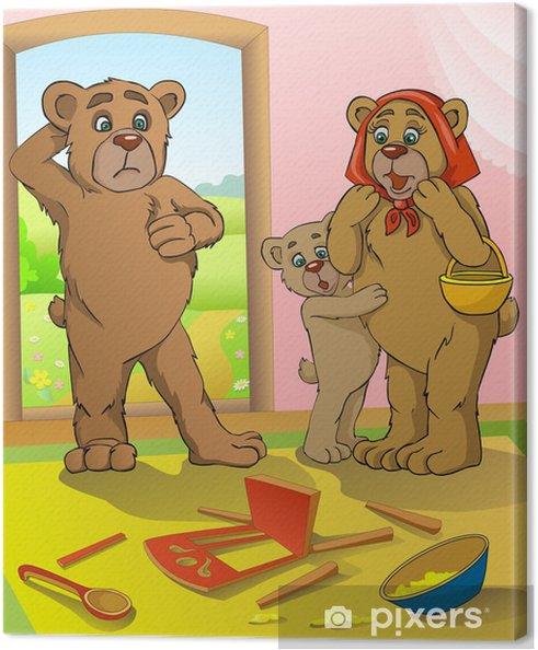 Obraz na płótnie Bajki. Bears wrócił do domu. Ktoś włamał się krzesło. - Ssaki