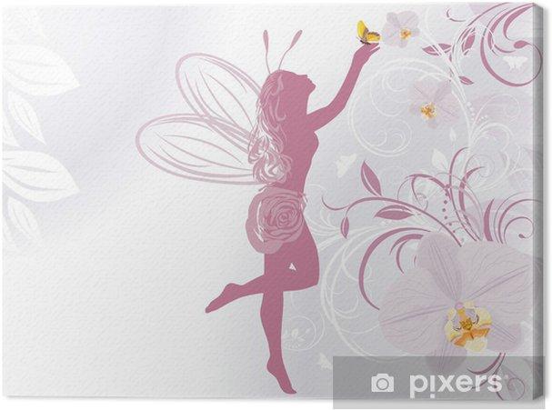Obraz na płótnie Bajki i motyl na tle dekoracyjne z orchidei - Style