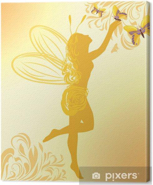 Obraz na płótnie Bajki i motyle na żółtym tle - Fikcyjne zwierzęta