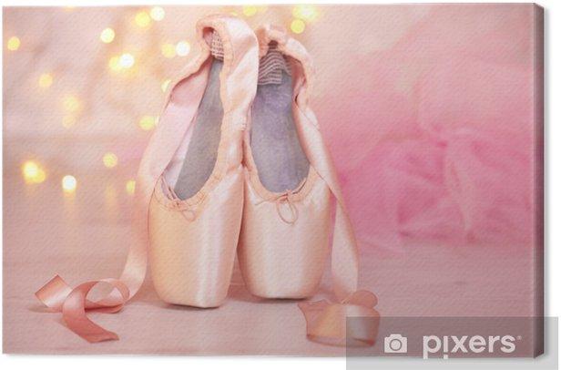 Obraz na płótnie Balet pointe buty na podłodze na tle bokeh - Inne przedmioty