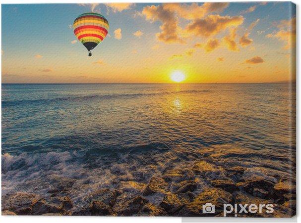 Obraz na płótnie Balonem nad morzem o zachodzie słońca - Transport powietrzny