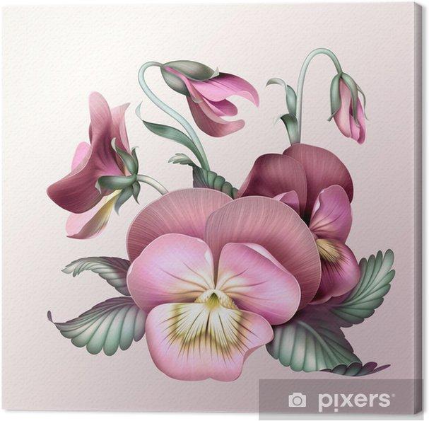 Obraz na płótnie Banda starych różowych kwiatów bratek, ilustracji - Kwiaty
