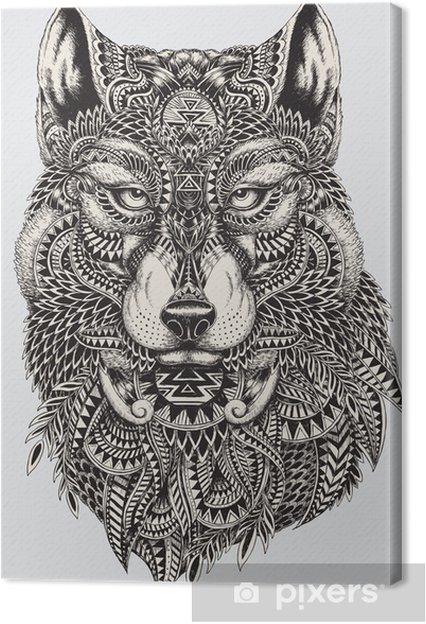 Obraz na płótnie Bardzo szczegółowe streszczenie ilustracji wilka - Style