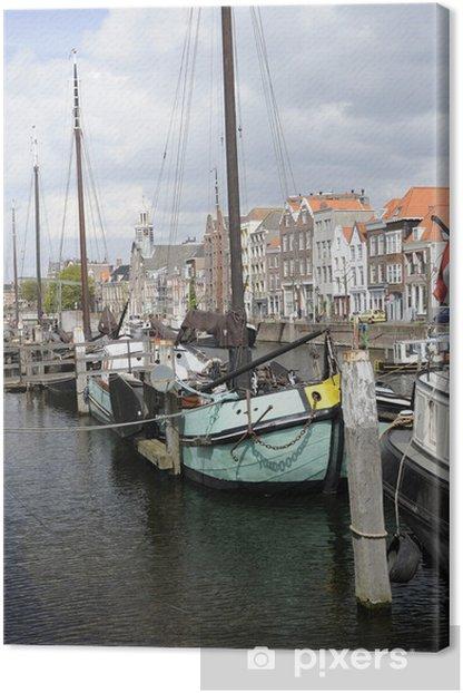 Obraz na płótnie Barka na jasny niebieski Voorhaven, Rotterdam - Europa