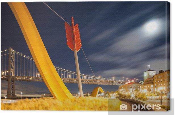 Obraz na płótnie Bay Bridge i pomnik z księżyca, San Francisco - Miasta amerykańskie