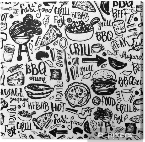 Obraz na płótnie BBQ Grill Grill Doodle bez szwu deseń. Kolorowe grill wzór z ręcznie rysowane napisami do owijania, banerów i promocji. - Jedzenie